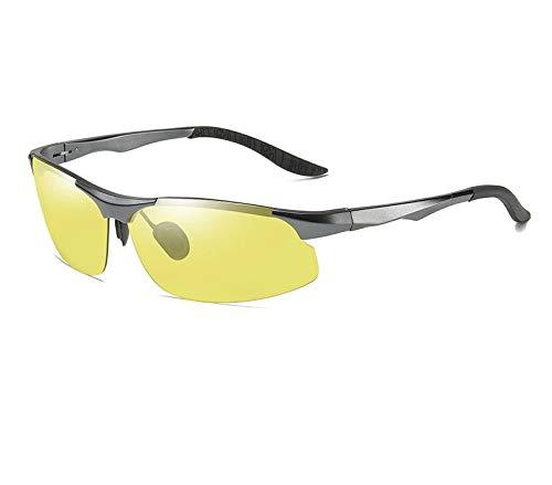 Óculos Noturno De Alumínio Lentes Amarelas Proteção Uv400 (Cinza)