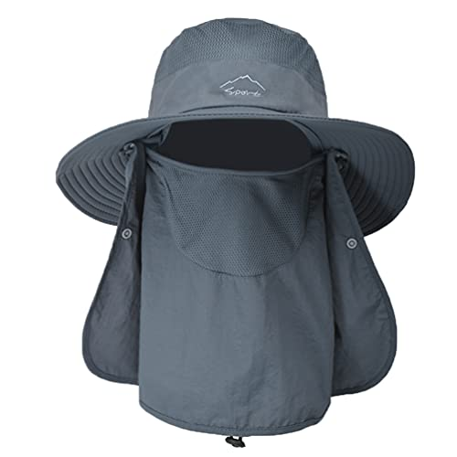 Outdoor Fishing Hat, Sun Cap with Wide Brim Face Cover Neck Flap Unisex Sun Protection Hat Dark Gray