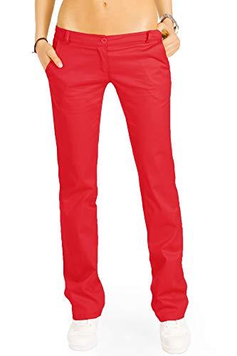 bestyledberlin Elegante Damen Chino, Schicke Regular Fit Stoffhosen, Ausgestellte Sommer Hosen j20k 42/XL rot