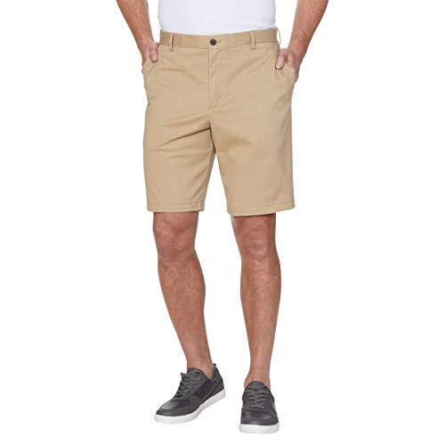 IZOD Mens Saltwater Flat Front Stretch Chino Shorts (Cedarwood Khaki, 34W)