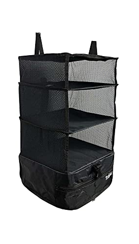 Stow-N-Go Small Travel Luggage Organizer and Packing Cube Space Saver Has Built In Hanging Shelves and Laundry Storage Compartment. Save Suitcase Room, Reduce Wrinkles and Never Unpack Clothes Again