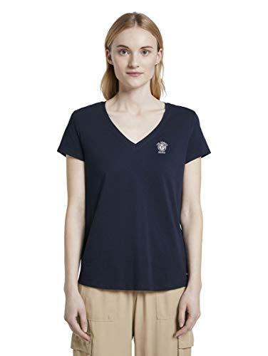 TOM TAILOR Denim Damen Basic V-Neck T-Shirt, 10360-Real Navy Blue, XL