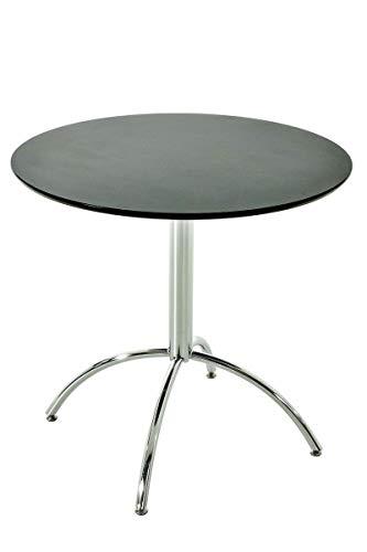 CLP Table de Bistro Ronde MARVILLE Ø 80 cm Hauteur de 75 cm Piètement en Métal Stable I Plateau de Table en Bois MDF I Table de Terrasse et BALC, Couleurs:Noir
