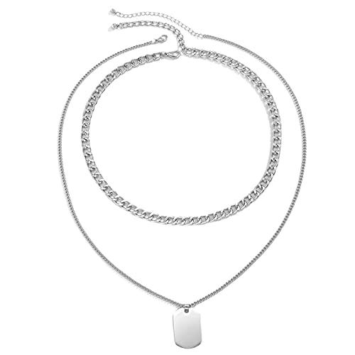 shandianniao Collar Colgante Moda Simple Acero Inoxidable Colgante Collar para el clásico Salvaje geométrico Multicapa clavícula Collar de clavícula Valentines día cumpleaños Regalo (Color : A)