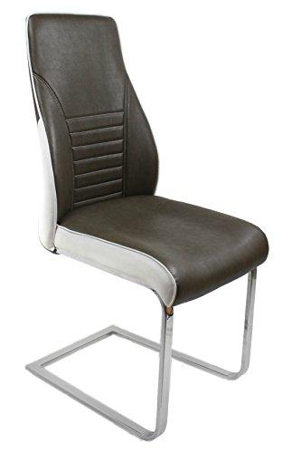 furnTastic Celia - Set di 2 sedie a dondolo in similpelle, colore: Marrone