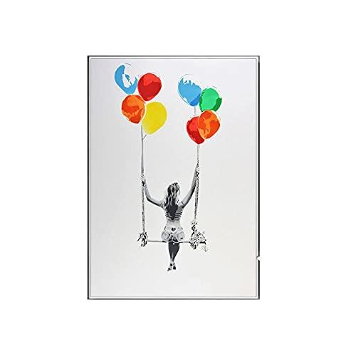 LTXMZ BalóN OscilacióN Decoracion Marco De La Decoracion Marco De La Columpio Arte Colorido Colorido Abstracto Cuadro Chica Balanceo Imprimir Pintura Chica Pared Arte Moderno 40x60cm No