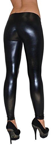 ESRA Damen Leggings Leggins Hose für Damen in Leder Optik schwarz bis Übergröße L55