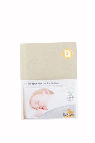 Pinolino Drap-Housse pour Lit de Bébé Tissu Eponge - Pack de 2 - Crème