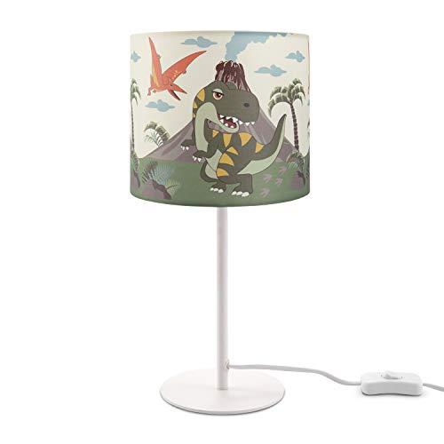 Paco Home Kinderlampe LED Tischlampe Kinderzimmer, Lampe Dinosaurier, Tischleuchte E14, Lampenfuß:Weiß + Leuchtmittel, Lampenschirm:Grün (Ø18 cm)