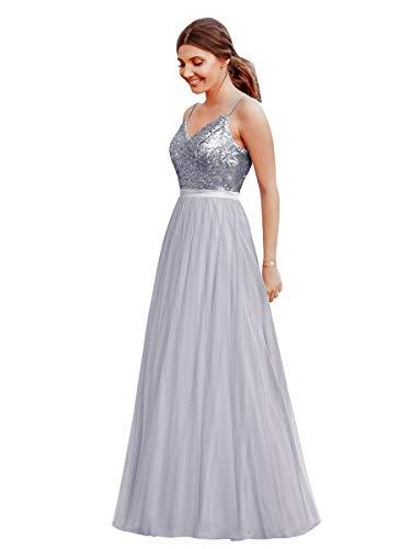Ever-Pretty Vestido de Fiesta Noche Largo para Mujer Cuello V Espalda Descubierta Brillante Plateado 44