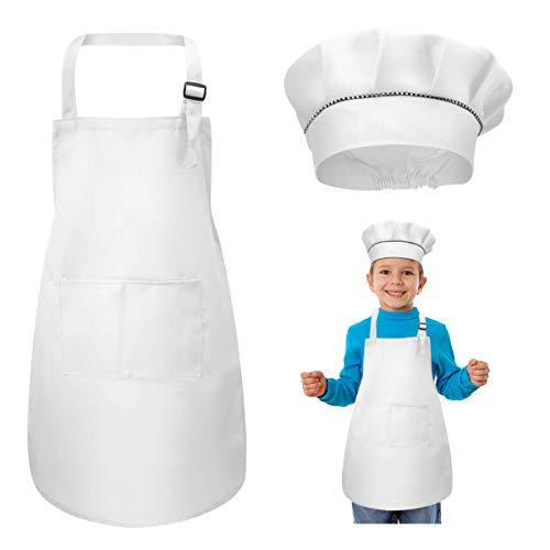 WEONE Niños Delantal y Gorro de Cocinero, Ajustable Delantal Infantil con 2 Bolsillos para Niños Niñas, Niñito Delantales de Cocina de Chef para Cocinar Hornear Pintar Artesanía (7-13 Años) (Blanco)