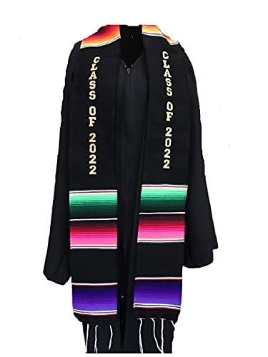 Graduación Clase de 2022 Faja negro prenda túnica accesorio mexicano sarape Faja 1 pieza ⭐
