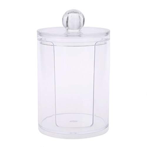 Milue Organisateur Plastique Transparent boîte Ronde conteneur de Stockage de Maquillage Coton Pad Swab