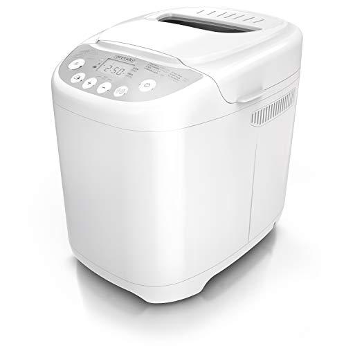 Arendo - Brotbackautomat mit 580 Watt - Brotbackmaschine 13 Programme - 750-1000 g - Sichtfenster – 60 Minuten Warmhaltefunktion – Zeitvorwahl - Antihaftbeschichtung – GS-Geprüfte Sicherheit – weiß