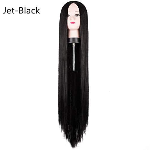 MOLUO Perruque Perruque Noire 100CM / 40 Pouces Fibre Synthétique Résistant à la Chaleur Long Halloween Costume Carnaval Costume Cos-Play Droite Femmes Cheveux @ B