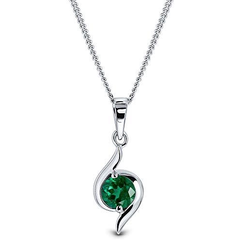 Miore Kette Damen Halskette mit rundem Anhänger Edelstein/Geburtsstein Smaragd in grün Kette aus Weißgold 9 Karat / 375 Gold, Halsschmuck 45 cm lang