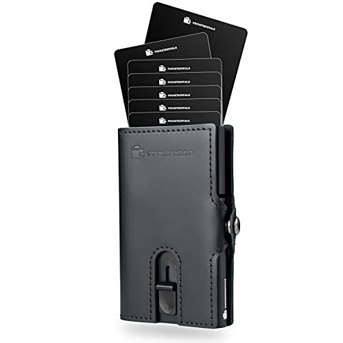 Bond Smart Wallet | Kreditkartenetui mit Münzfach | Aluminium Slim Wallet für bis zu 8 Karten | Mini-Wallet mit RFID-Schutz | Kartenetui aus Echtleder in Schwarz