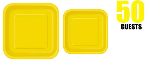 100 Count Square yellow Paper Plates | 50~9' Dinner Paper Plates | 50~7' Dessert Paper Plates | yellow Party Theme