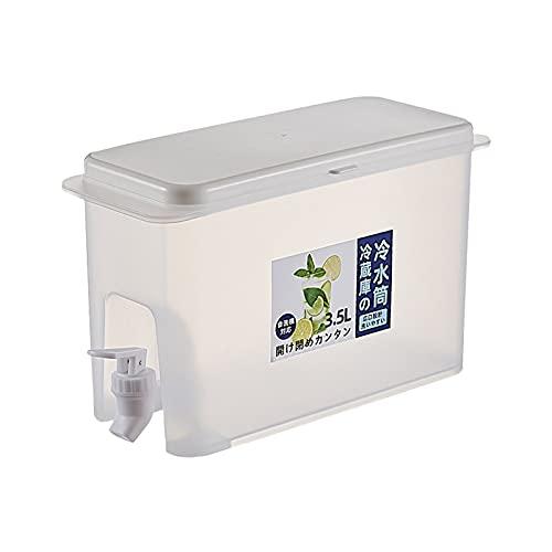 Wlabe Distributeur de Boissons de 3,5 L avec Robinet Anti-Fuite - Distributeur de Boissons pour réfrigérateur avec Robinet et Couvercle, Pot de Boisson réutilisable pour Bouilloire à Eau Froide (A)