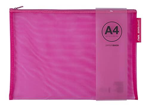 APLI 18027 - Borsa nylon - Zipper bag - Astuccio in nylon traspirante - A4 - 355 x 255 mm - Spedizione colore casuale