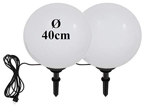 Trango 2er Set IP44 Gartenkugel 2x 400mm Durchmesser TG400/2 inklusive 5 Meter Zuleitungskabel IP44 I Kugelleuchte I Gartenlampe I Außenleuchte