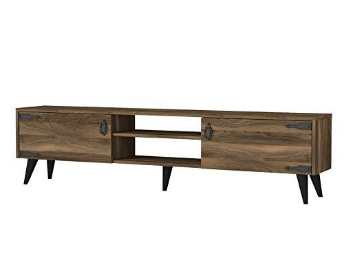 Alphamoebel 4739 Anthes TV Lowboard Sideboard Anbauwand, Metallgriffe, Walnuss, Wohnzimmer, Holz, Korpus eigenes Design, 180 x 41 x 30 cm