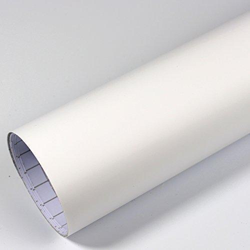 Rapid Teck® 5,26€/m² Premium – Matt Weiß 1m x 1,52m Auto Folie Blasenfrei mit Luftkanälen für Auto Folierung und 3D bekleben in Matt Glanz und Carbon Autofolie