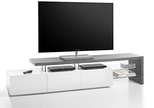 lifestyle4living TV-Lowboard, Lowboard, TV-Board, Fernsehtisch, TV-Schrank, TV-Bank, TV-Unterschrank, Beton Optik, grau, anthrazit, matt, weiß, Phonomöbel, Glas
