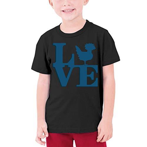 Liebe polnischen Huhn Teenager Junior Jungen Mädchen Jugend Kurzarm T-Shirt Tee O Hals(L,schwarz)