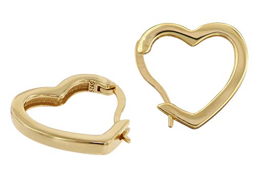 trendor Ohrringe Herz Creolen Gold auf Silber eleganter Ohrschmuck für Damen, zauberhafte Creolen aus goldplattiertem Sterlingsilber, tolle Geschenkidee 75838