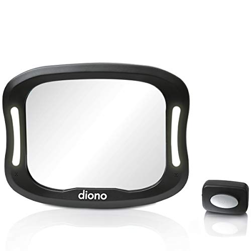 Diono Easy View™ XXL Baby Car Mirror with Extra Wide View, Safety Car Seat Mirror for Rear Facing Infant with 360° Rotation, LED Night Light, Wide Crystal Clear View, Shatterproof, Crash Tested