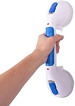 Carex 12 Inch Ultra Suction Shower Grab Bar With Grip Handle