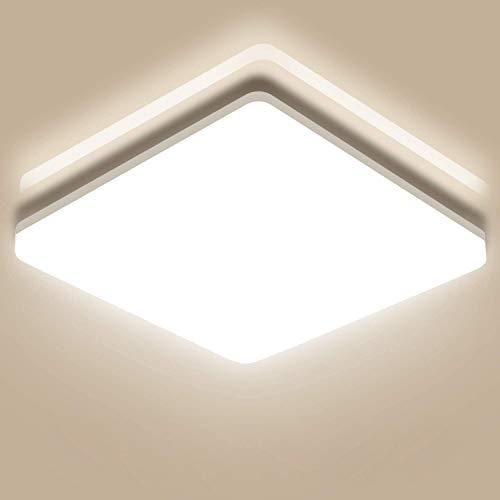 Oeegoo® 24W LED Deckenleuchte Bad, 2400lm(100Lm/W) IP44 Feuchtraumleuchte Badlampe Badezimmerlampe 33x33cm, Led Deckenlampe Für Kinderzimmer Flur Wohnzimmer Küche Büro Korridor 4000K