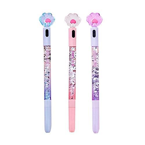 3 uds.Juego de bolígrafos Kawaii lindos de secado rápido, bolígrafos de tinta de gel de bolígrafo con brillo negro de 0,38 mm suaves para la escuela, oficina, papelería