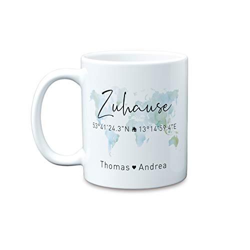 Zuhause Koordinaten große personalisierte Kaffee-Tasse mit Namen als Geschenk-Idee zum Einzug als Einweihungsgeschenk zum Richtfest Hausbau Umzug