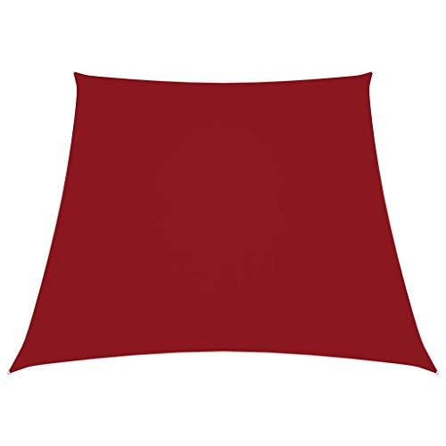 vidaXL Toldo Parasol Lona Protector Solar Sombra de Patio Jardín Terraza Balcón Parque Exterior de Vela Trapezoidal de Tela Oxford Rojo 3/4x3 m