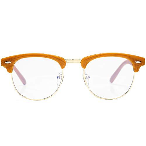 AZORB Retro Blue Light Blocking Computer Glasses Semi-Rimless Eyeglasses Frame Horn Rimmed (Bamboo Frame)