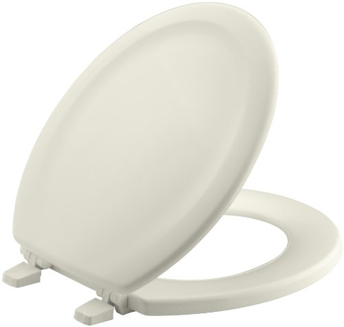 KOHLER K-4648-96 Stonewood Molded-Wood with Color-Matched Plastic Hinges Round-front Toilet Seat, Biscuit