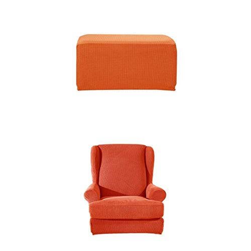 joyMerit Stretch Wing Back Arm Chair Cover Mit Ottoman Fußhocker Schonbezug Orange
