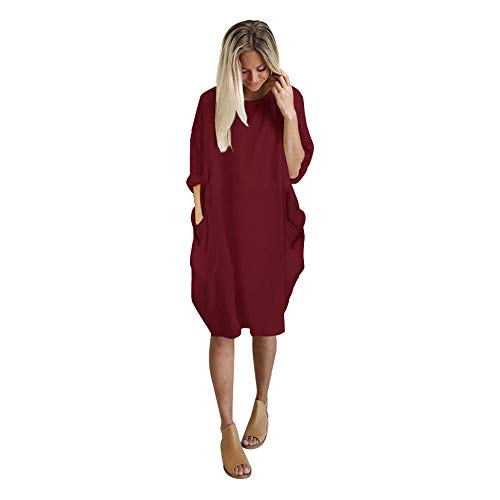 VEMOW Vestido para Mujer Manga Corta Cuello Redondo, Vestidos Casual Color Sólido Moda Suelto Largos Verano Chic Elegante Vestido Falda Larga Maxi Vestido con Bolsillo(A Vino,L)