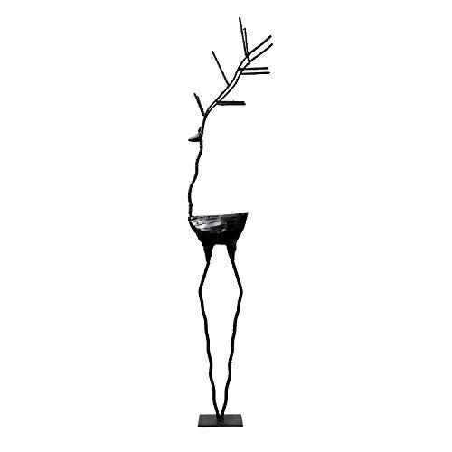 YOUKOOD 30 Inch Christmas Deer Outdoor Indoor Decor Statues, Metal Yard Art Deer Lawn Ornaments Yard Party Landscape Figurine Decorations (Black)