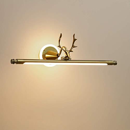 Lámpara de espejo LED retro, vintage, resistente al agua, lámpara de baño, lámpara de pared con iluminación base de cuernos, luz ajustable, lámpara de espejo para tocador, dorado, 62 cm, 12 W