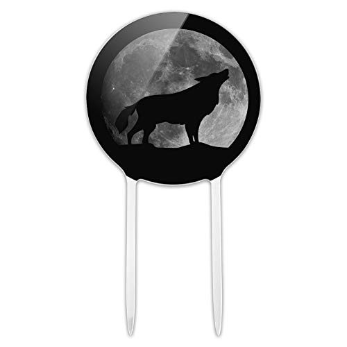 Acrylic Wolf Howling Moon Silhouette Cake Topper Party Decoration for Wedding Anniversary Birthday Graduation