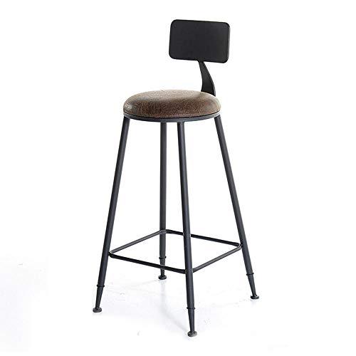 FIONAT Barhocker Sitzhöhe Braune Pu-Leder Barhocker Gepolsterter Sitz mit Rückenlehne und Fußstützen Metallbeine für Die Küche Frühstückstheke Sitze Sitzhöhe 75 cm
