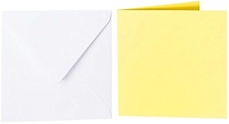 100 quadratische Briefumschläge 150 x 150 mm Weiß mit Dreieckslasche, 100g  100 Faltkarten 145 x 145 mm, 240g, Farbe  06 Gelb B015PR0Z3E | Vorzüglich