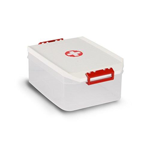 TATAY 1150209 - Caja Botiquin Primeros Auxilios con Tapa, 4,5 l de Capacidad, Plástico Polipropileno Libre de BPA, Blanca con Cruz Roja, 4.5 litros