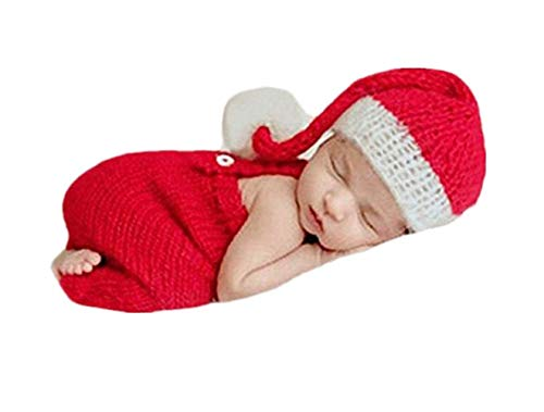 Vemonllas Fashion Newborn Boy Girl Baby Costume Outfits Photography Props Christmas Hat Rompers Clothes Red