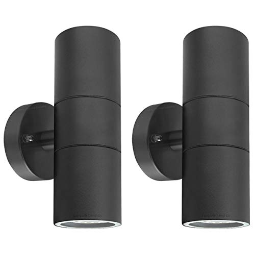 2 X Black Stainless Steel Double Outdoor Wall Light IP65 Up Down Garden Wall Lamp ZLC035B, Matt Black