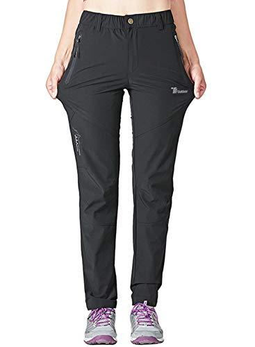 YSENTO Pantaloni da trekking da donna per attività all aperto, Quick Dry, leggeri, elasticizzati, con tasche con chiusura lampo Nero M