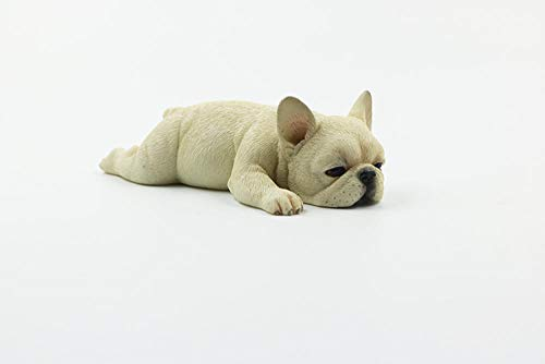 BBKX Sculptures for Garden French Bulldog Cute Sleeping Small Method Fighting Simulation Dog Model French Bull Lucky car Decoration